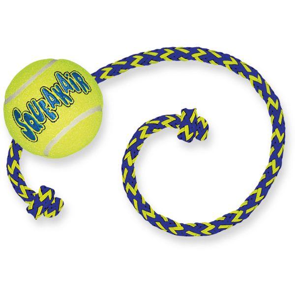 Hundespielzeug KONG® Squeakair® Ball mit Tau